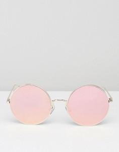 Круглые солнцезащитные очки с зеркальными стеклами ALDO Bruyssel - Розовый