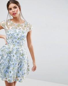 Короткое приталенное платье с цветочной вышивкой ASOS SALON - Мульти
