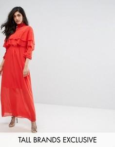 Платье с высоким воротником и оборками Y.A.S Tall Chinz - Красный