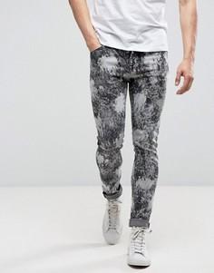Черные супероблегающие джинсы с выбеленным пятнистым принтом ASOS - Черный