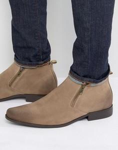 Серо-коричневые ботинки челси из искусственной замши на молнии ASOS - Stone