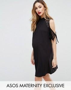 Платье-трапеция с открытыми плечами и кружевом ASOS Maternity - Черный
