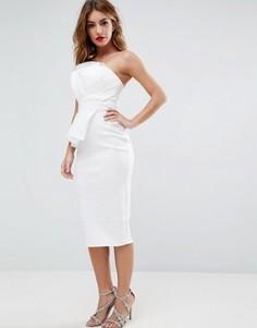 Облегающее платье-бандо миди из органзы ASOS - Белый