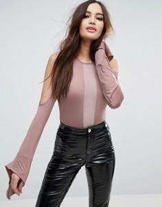 Боди с открытыми плечами и рукавами клеш ASOS - Розовый