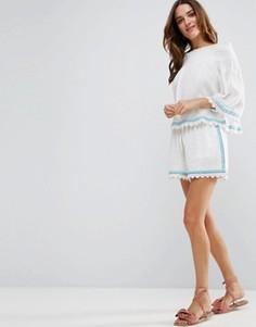 Пляжные шорты от комплекта из жатого хлопка с вышивкой Liquorish - Фиолетовый
