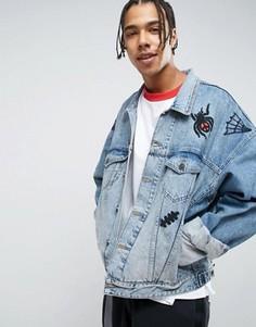 Синяя джинсовая оversize-куртка с вышивкой ASOS x Lot Stock - Синий
