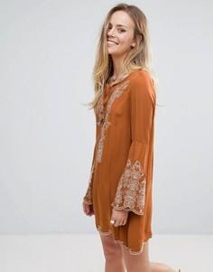 Свободное платье с вышивкой Lunik - Коричневый