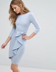 Платье миди с рукавом 3/4 и каскадной баской City Goddess - Синий