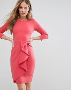 Платье миди с рукавом 3/4 и каскадной баской City Goddess - Розовый
