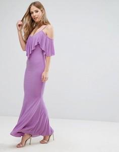 Платье макси с оборками City Goddess - Фиолетовый