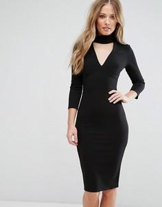 Платье-футляр с вырезом и рукавами 3/4 City Goddess - Черный