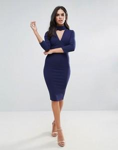 Платье-футляр с вырезом и рукавами 3/4 City Goddess - Темно-синий