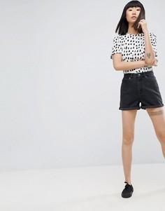 Черные выбеленные джинсовые шорты ASOS Mom - Черный