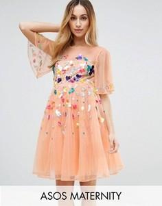 Платье мини с пайетками ASOS Maternity - Розовый
