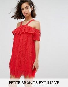 Кружевное цельнокройное платье Missguided Petite - Красный