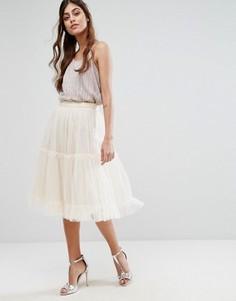 Многоярусная юбка из тюля с оборкой Little Mistress - Кремовый