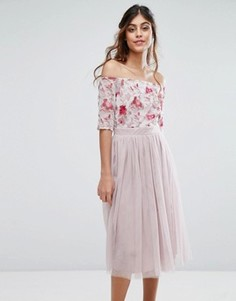 Платье миди с вышивкой на лифе и юбкой из тюля Little Mistress - Мульти
