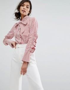 Рубашка в полоску с оборками на рукавах и бантом Style Mafia - Красный