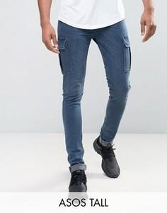 Синие джинсы скинни с отделкой карго ASOS TALL - Синий