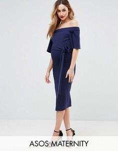 Платье миди с открытыми плечами и завязкой ASOS Maternity - Темно-синий