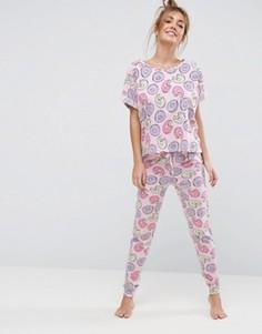 Пижамные леггинсы и футболка с принтом пончик ASOS - Мульти