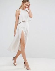 Платье миди с укороченным топом и разрезом ASOS - Кремовый
