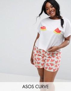 Пижамный комплект с футболкой и шортами ASOS CURVE - Мульти