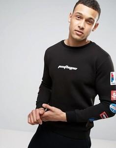 Черный свитшот с нашивками на рукавах Hype - Черный