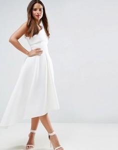 79d3c2680e7 Приталенное платье миди на одно плечо с удлиненным кроем сзади ASOS - Белый