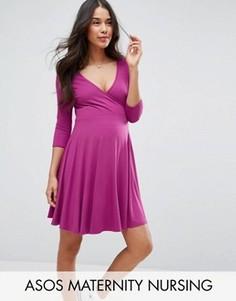 Платье с запахом для беременных ASOS Maternity NURSING - Черный