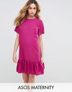 Платье-футболка с рюшами по краю ASOS Maternity - Розовый