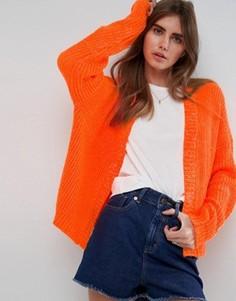 Кардиган крупной вязки с пышными рукавами ASOS - Оранжевый
