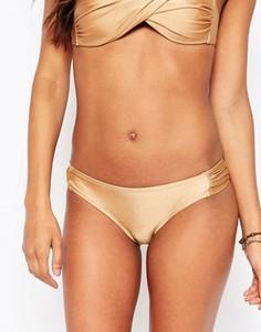 Трусики бикини со сборками по бокам Vero Moda - Золотой