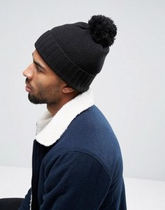 Черная шапка с помпоном ASOS - Черный