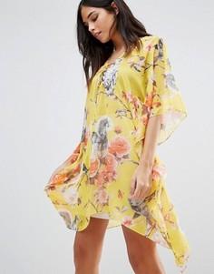 Платье-кимоно с цветочным принтом Traffic People - Желтый