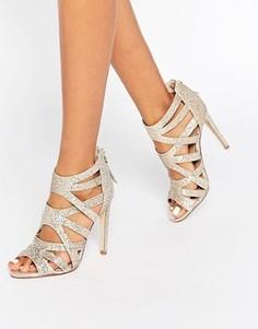 Решетчатые сандалии на каблуке с золотистыми блестками Lipsy Margot - Золотой