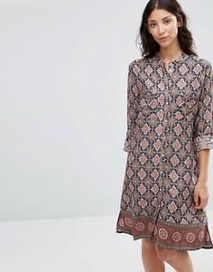 Платье-рубашка с принтом b.Young Fanda - Синий