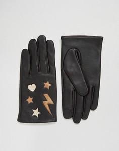 Кожаные перчатки ASOS - Черный
