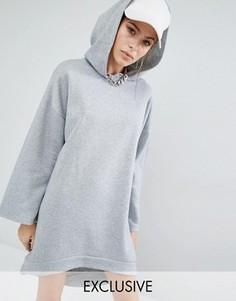 Трикотажное платье с капюшоном и удлиненной спинкой Bones - Серый