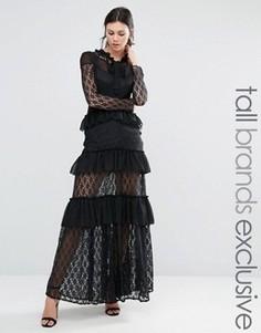 Кружевное ярусное платье макси с длинными рукавами и оборками True Decadence Tall - Черный