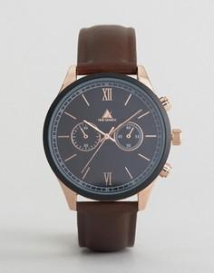 Коричневые часы с золотисто-розовым корпусом ASOS - Коричневый