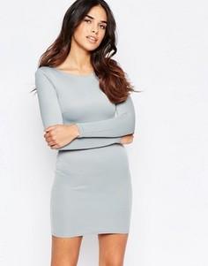 Платье мини с длинными рукавами Oh My Love - Серый