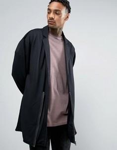 Драпированное трикотажное оversize-пальто с молнией ASOS - Черный