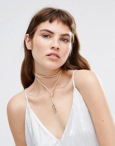 Замшевое ожерелье с завязкой Krystal - Бежевый