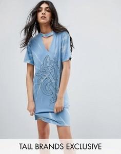 Платье-футболка с принтом тай-дай и чокером Daisy Street Tall - Мульти