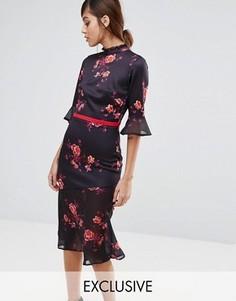 Чайное платье миди с асимметричным краем и оборками True Violet - Мульти