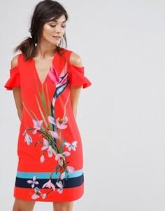Платье с вырезами и тропическим принтом Ted Baker Leea - Красный