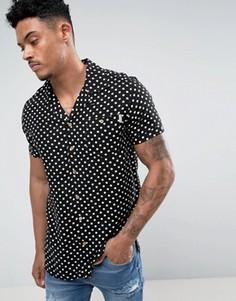 Рубашка в стиле 50-х с принтом и воротником Soul Star - Черный