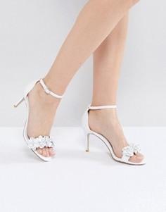 Босоножки на каблуке с аппликацией Dune Magnolea - Белый