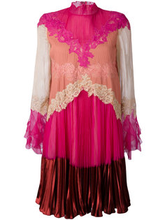 плиссированное платье с кружевными вставками Valentino